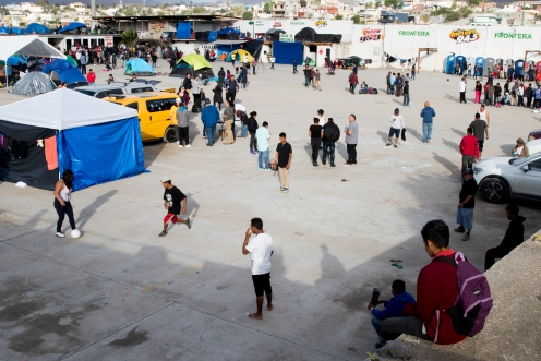 Children play soccer at the El Barretal migrant shelter in Tijuana, Mexico on December 1, 2018. (Zane Meyer-Thornton)