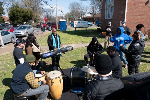 Three time grammy nominated keyboardist Joseph Wooten performed outside of the New Covenant Christian Church in North Nashville, Tennessee